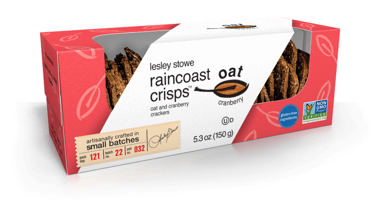 Oat and Cranberry, lesley stowe raincoast oat crisps™