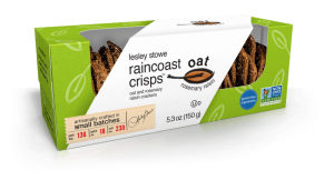 Packaging for Oat and Rosemary Raisin, lesley stowe raincoast oat crisps™