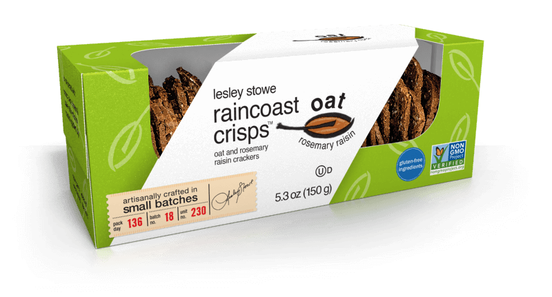 Packaging for lesley stowe raincoast oat crisps™ Oat and Rosemary Raisin