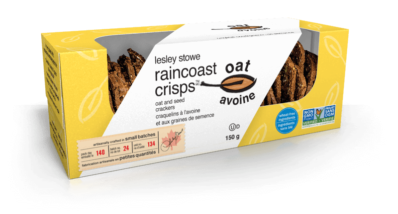 Emballage pourlesley stowe raincoast oat crisps(MC) Avoine et graines