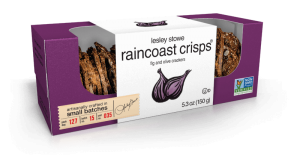 Packaging for Fig and Olive, lesley stowe raincoast crisps®
