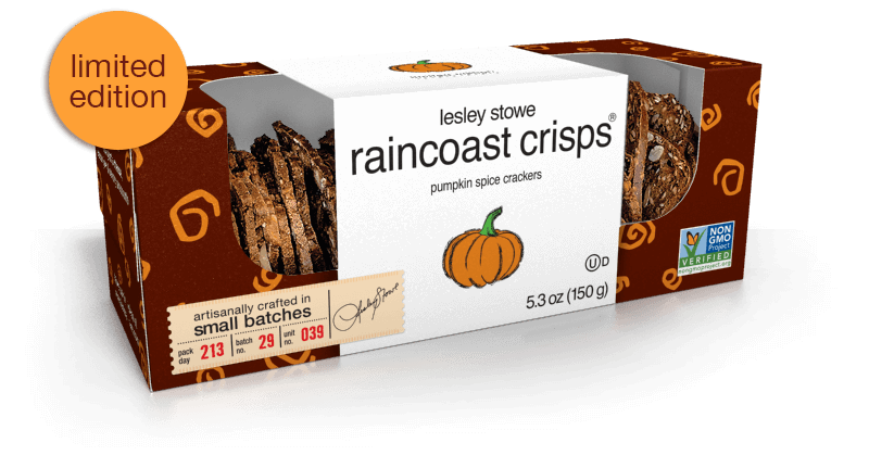 Packaging for limited edition lesley stowe raincoast crisps® Pumpkin Spice
