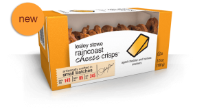 Packaging for Aged Cheddar and Harissa, NEW lesley stowe raincoast cheese crisps™