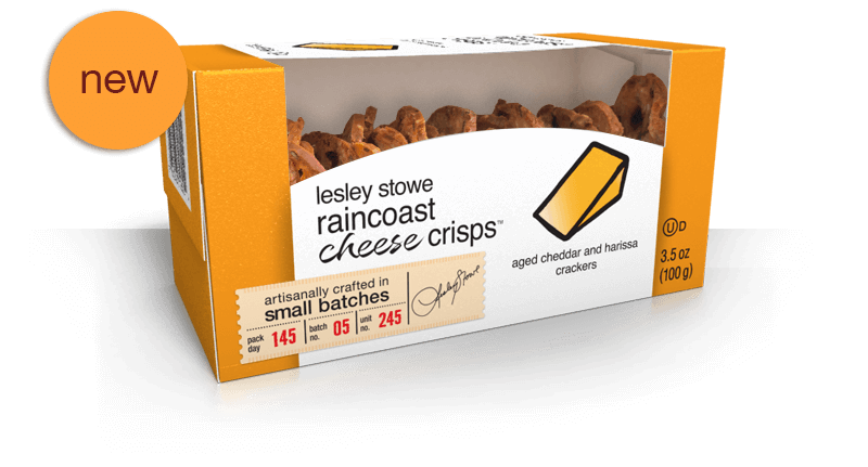 Aged Cheddar and Harissa, NEW lesley stowe raincoast cheese crisps™