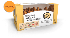 Emballage pournouveaux lesley stowe raincoast cheese crisps(MC) parmesan et ciboulette