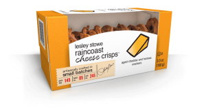 Packaging for Aged Cheddar and Harissa, lesley stowe raincoast cheese crisps™