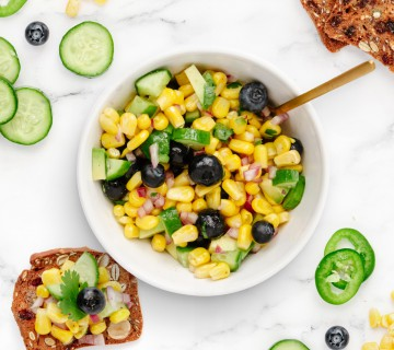 blueberry, cucumber and sweet corn salad