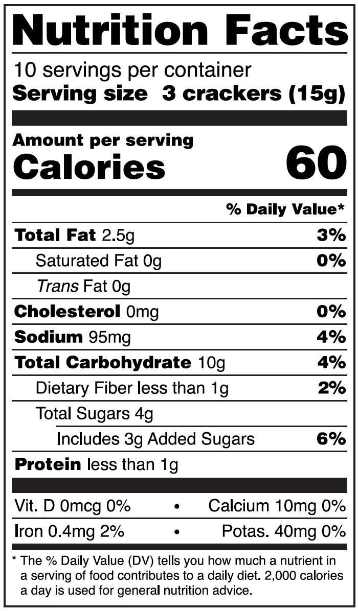 Nutrition information for peach and pecan, NEW lesley stowe raincoast crispcotti™
