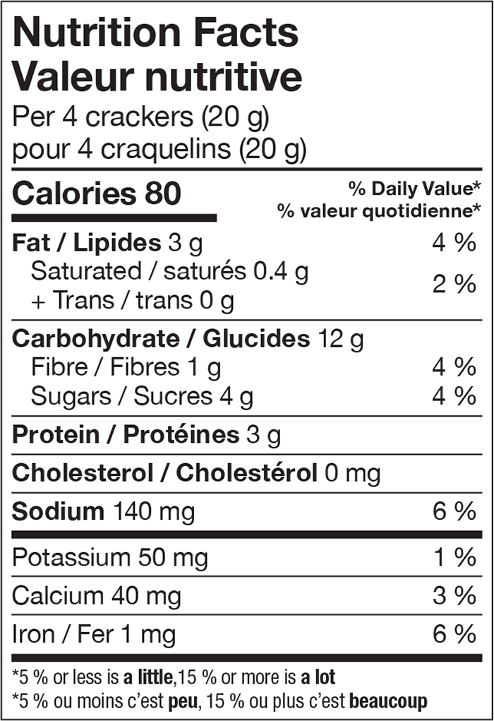 Nutrition information for bleuets sauvages et amandes, lesley stowe raincoast crisps®