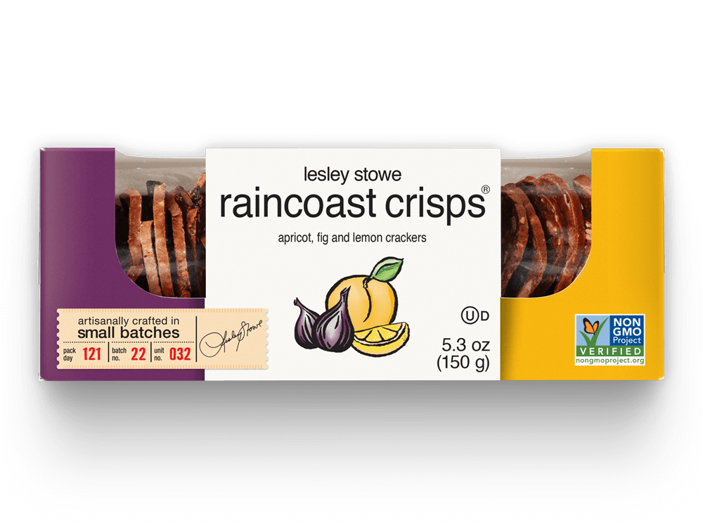 Packaging for lesley stowe raincoast crisps® Apricot, Fig and Lemon