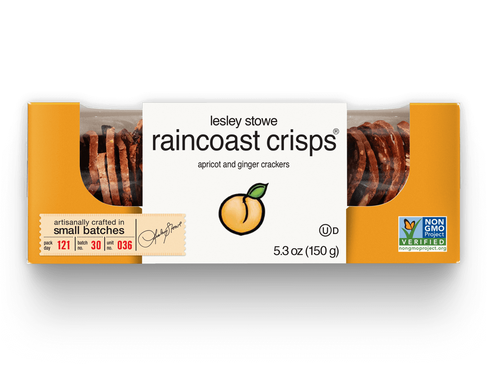 Packaging for lesley stowe raincoast crisps® Apricot & Ginger