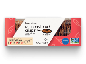 Packaging for lesley stowe raincoast oat crisps™ Oat and Cranberry