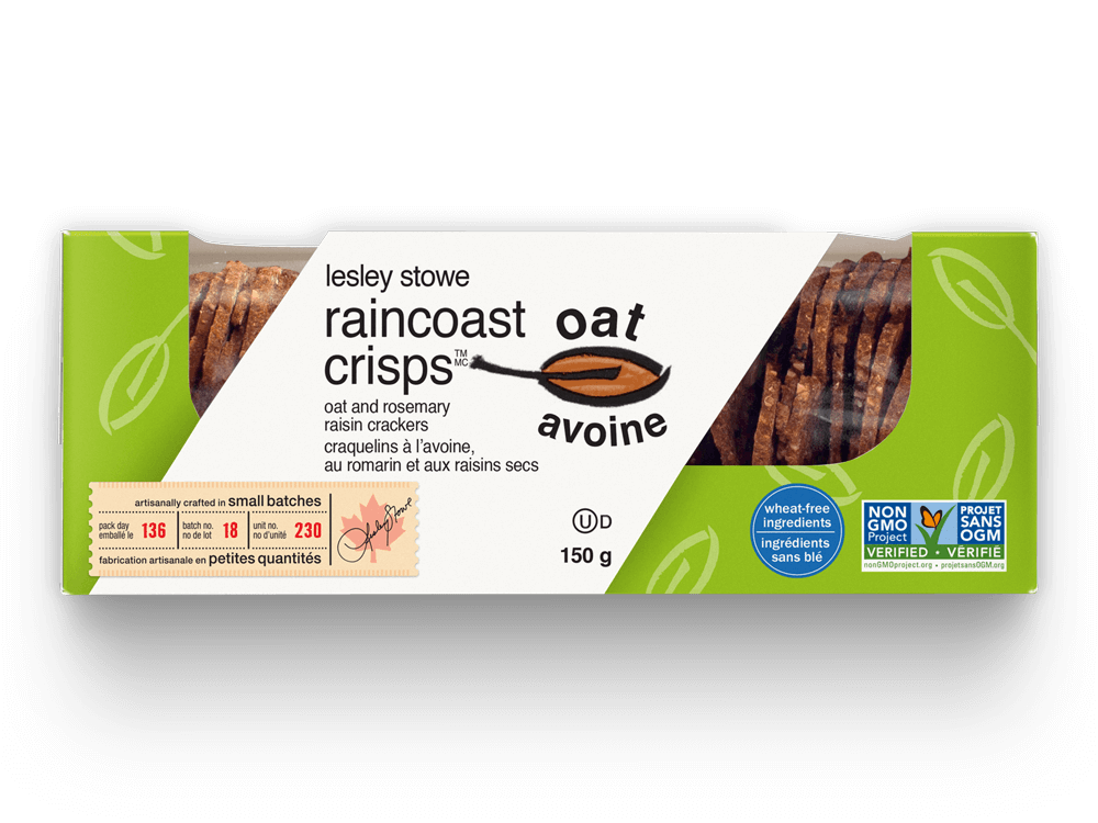 Packaging for  raincoast oat crisps™