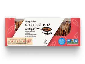 Emballage pour lesley stowe raincoast oat crisps(mc) avoine et canneberges