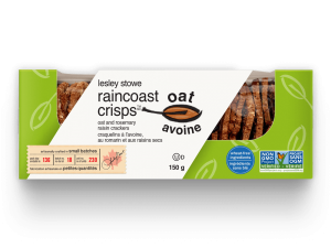Emballage pour lesley stowe raincoast oat crisps(mc) avoine, romarin et raisins secs