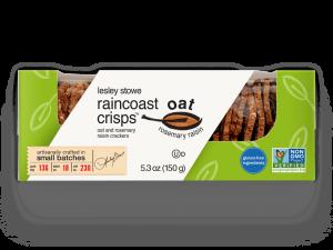 Packaging for  lesley stowe raincoast oat crisps™ oat and rosemary raisin