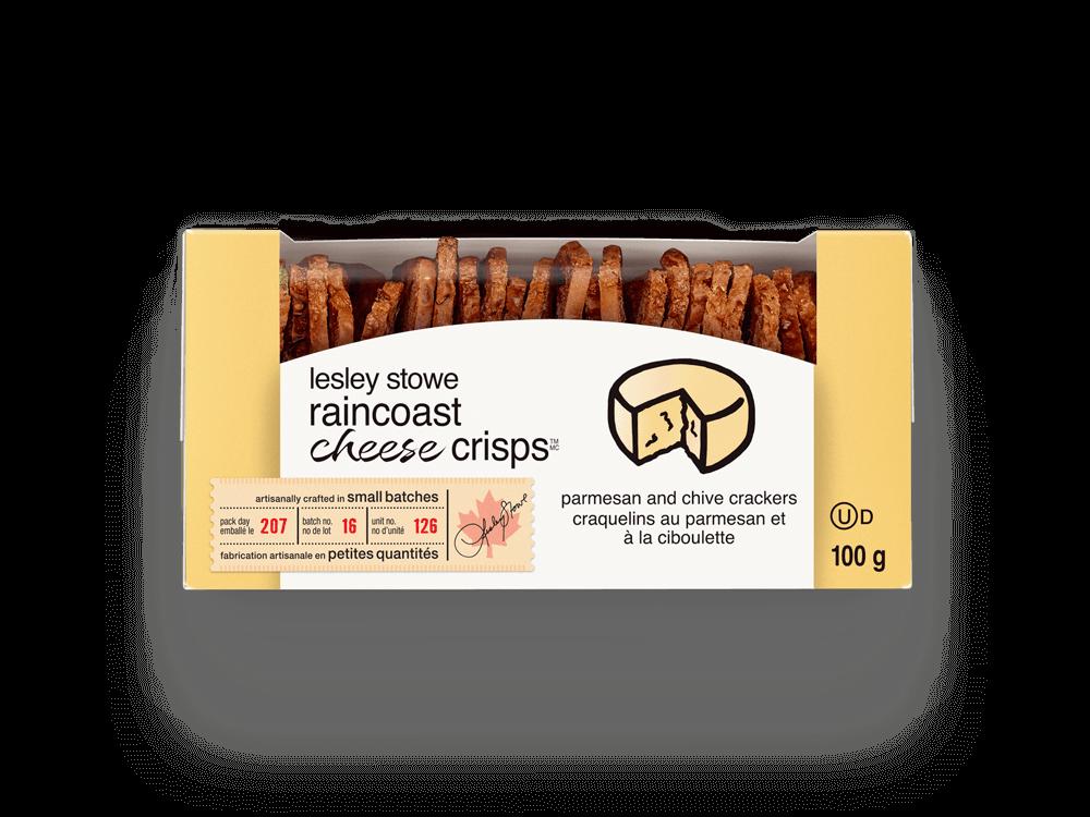 Emballage pourlesley stowe raincoast cheese crisps(MC) parmesan et ciboulette