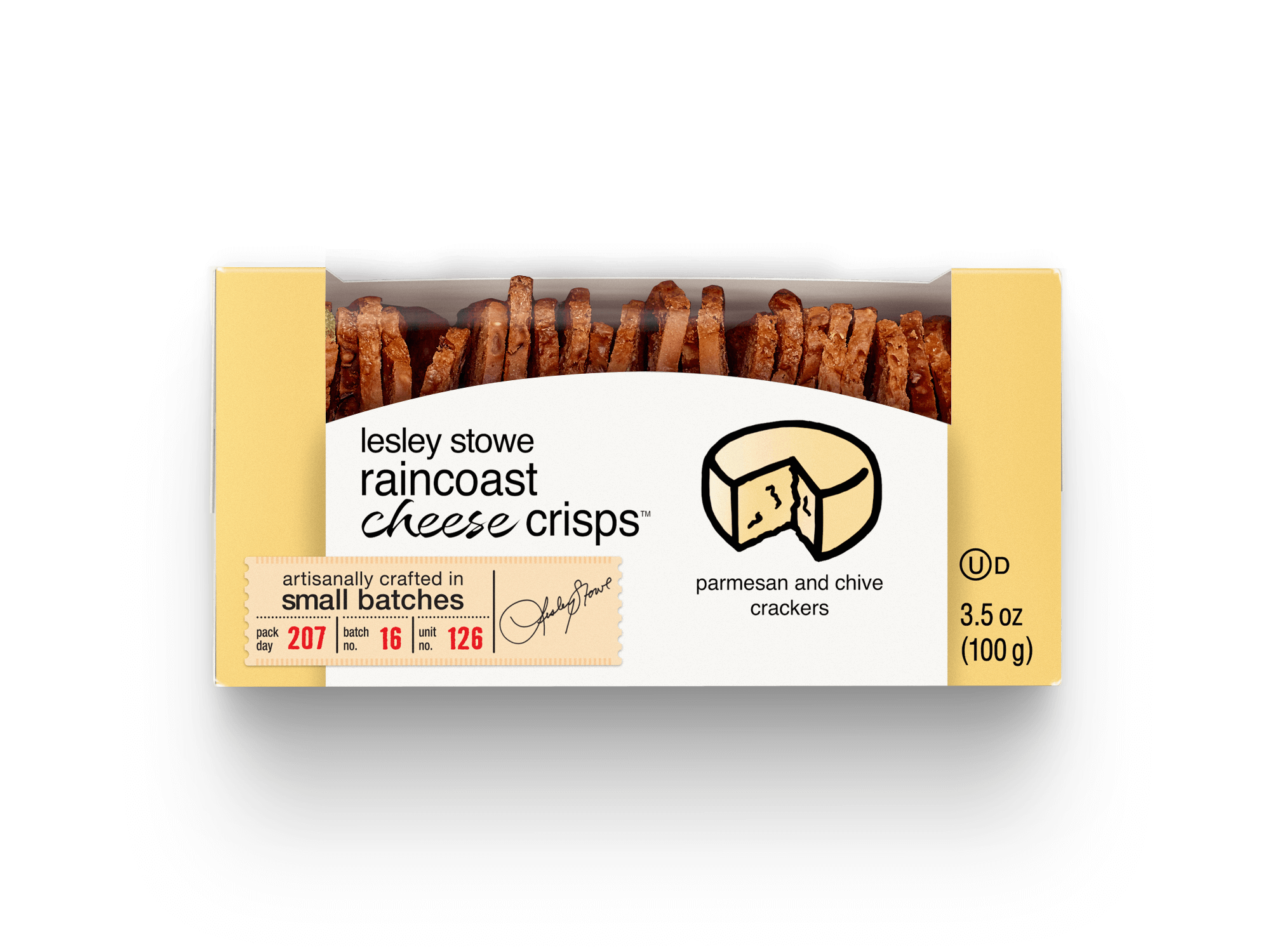 Packaging for lesley stowe raincoast cheese crisps™ Parmesan and Chive
