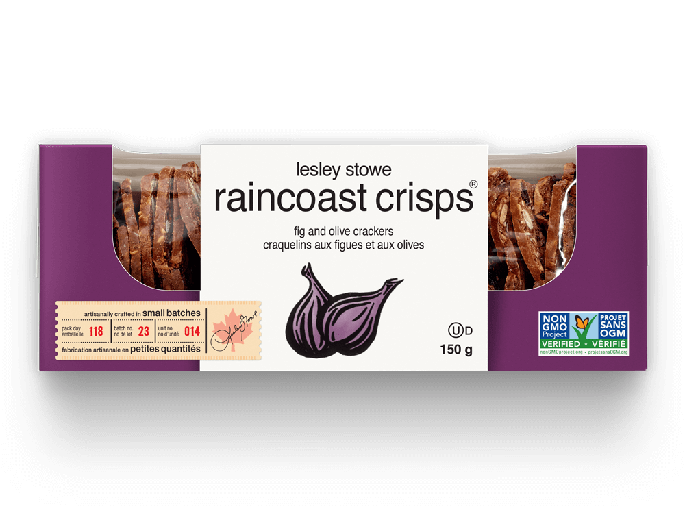Packaging for lesley stowe raincoast crisps® Fig and Olive