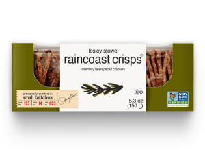 Packaging for  lesley stowe raincoast crisps® rosemary raisin pecan