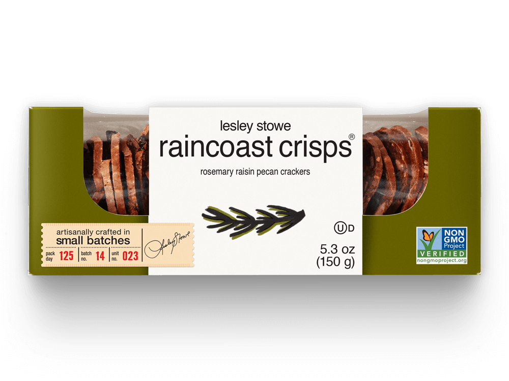 Packaging for lesley stowe raincoast crisps® Rosemary Raisin Pecan