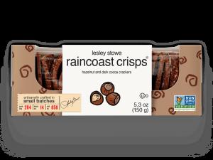 Packaging for  lesley stowe raincoast crisps® hazelnut and dark cocoa